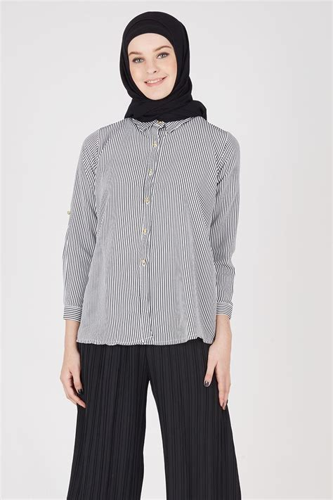 Kaos Wanita Lengan Panjang Stripe Navy Stellia sell stripe shirt navy tops hijabenka