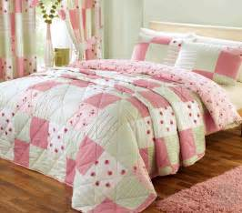 Patchwork Bedding Set - shabby chic patchwork duvet cover floral pink green