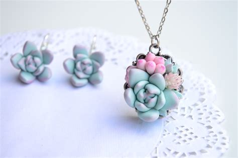 Planter Necklace mint succulent necklace jewelry planter necklace jewelry