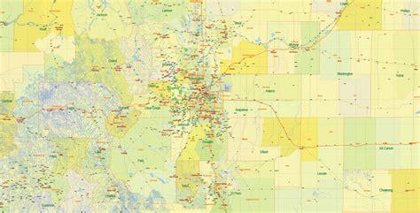 map of colorado vector printable map state colorado us main roads admin 10 ai pdf 19