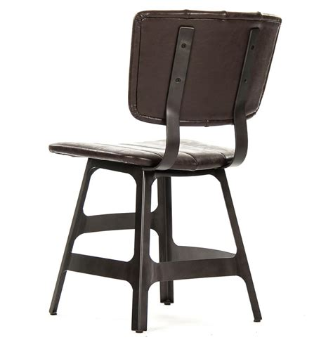 Rustic Industrial Dining Chairs Robertson Rustic Industrial Espresso Brown Leather Iron Dining Side Chair