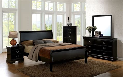 louis philippe bedroom furniture louis philippe iii black panel bedroom set cm7866bk q