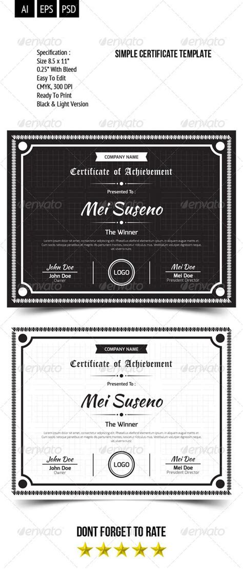 simple certificate template certificate templates simple and templates on