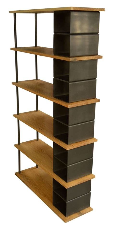 custom large wood and metal industrial bookshelf by