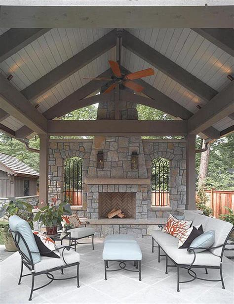 covered patio with fireplace covered patio with pitched roof and stone fireplace