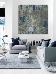 Grey White Blue Living Room Large Abstract Painting Teal Blue Navy Grey Gray White