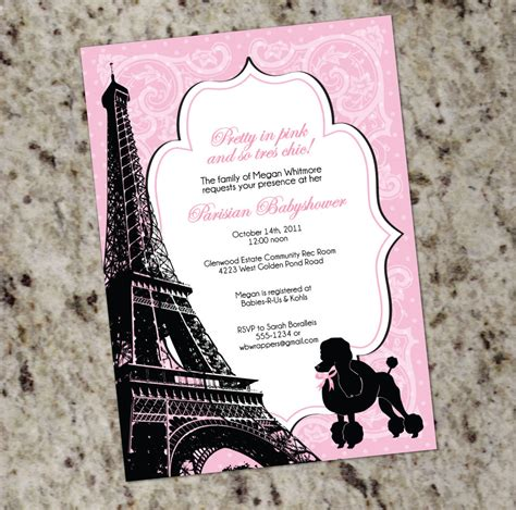 themed baby shower invitation pink and black