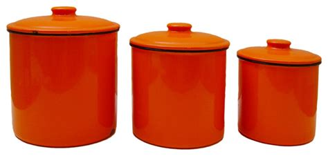 consigned orange enamelware canister 3 set