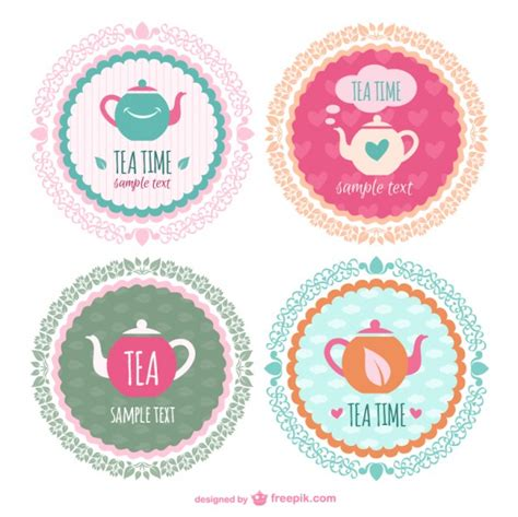 sticker templates tea time sticker templates vector free