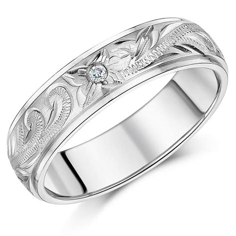 his her s couple titanium wedding rings hand engraved cz