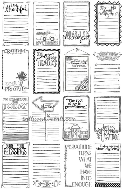 printable gratitude journal pages free doodle gratitude lists for journals scrapbooks