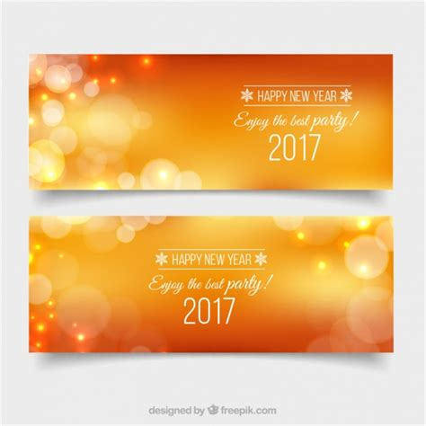 new year orange picture banners bokeh orange new year vector free