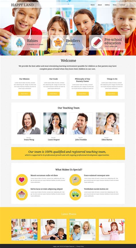 Day Care Responsive Website Template 53243 Child Care Website Template