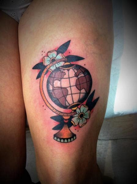 old thigh world tattoo by la dolores tattoo