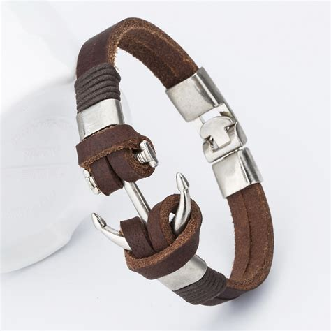 S Handmade Leather Bracelets - price 2016 fashion charm leather anchor s