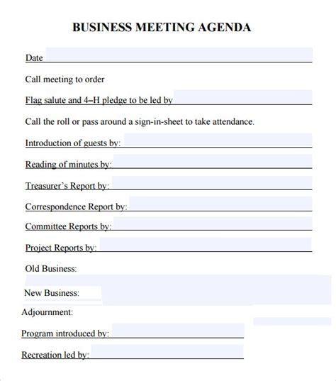 6 Sle Business Meeting Agenda Templates To Download Sle Templates Corporate Meeting Minutes Template Word