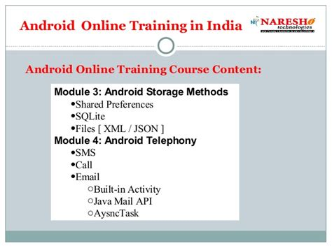 online tutorial of android android online training in india