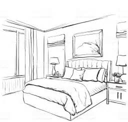 bed sketch bedroom interior sketch hand drawn furniture stock vector