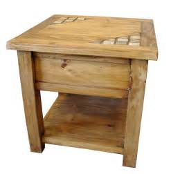 Wood End Tables Marble And Solid Wood Rustic End Table Special Order