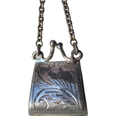 Be D Locket Purse vintage sterling silver etched purse locket pendant or