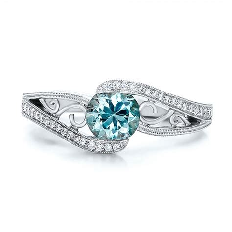 blue engagement rings custom blue zircon and engagement ring 100645