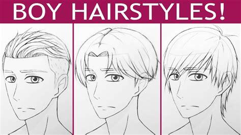 drawing 6 boy hairstyles by marryrdbsongs youtube how to draw 3 manga boy hairstyles youtube