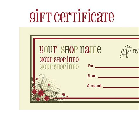 make your own gift card printable voucher template masir