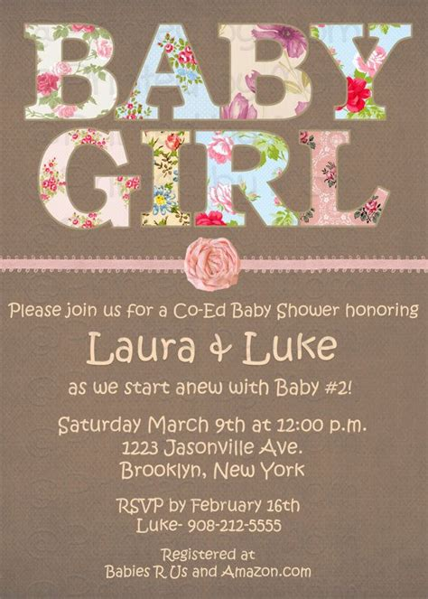 shabby chic baby shower invitation print at home by