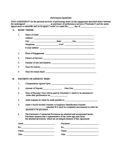 performance agreement template sle performance agreement free