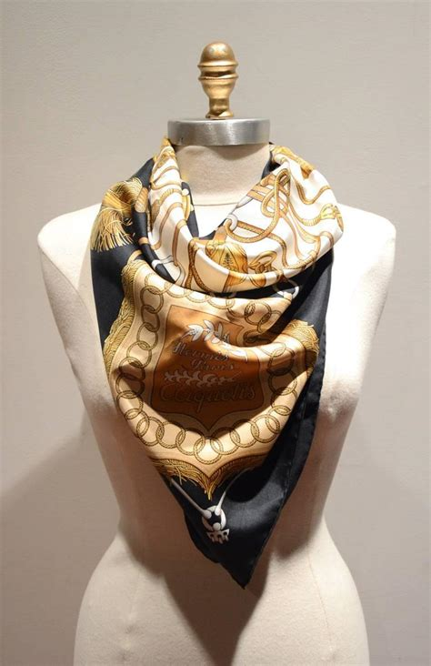 Beautiful Things From Vintage Scarves by Hermes Vintage Cliquetis Black And White Silk Scarf At 1stdibs