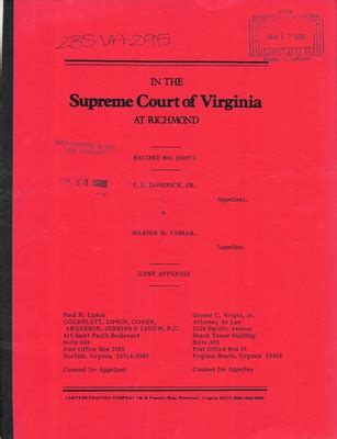 Virginia Search Judiciary Virginia Supreme Court Records Volume 235 Virginia Supreme Court Records