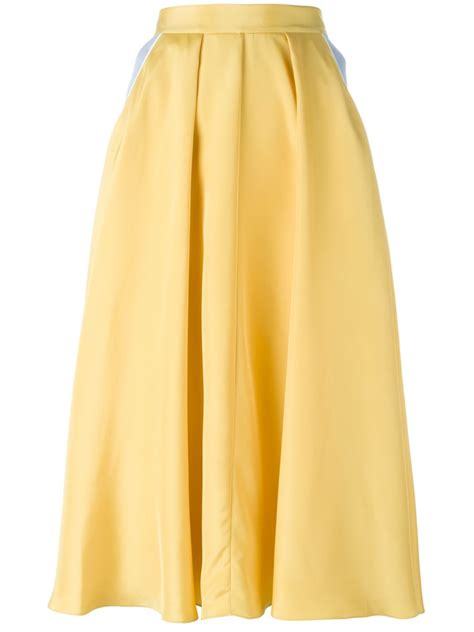 roksanda silk blend woodlyn skirt light yellow
