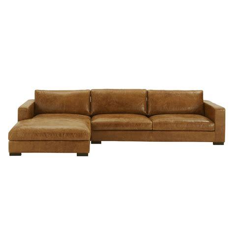 5 seater vintage leather corner sofa camel maisons du monde