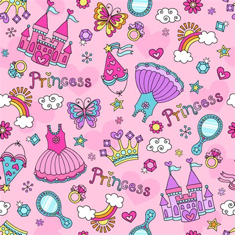 cute wallpaper vector free download cute princess elements background vector free vector