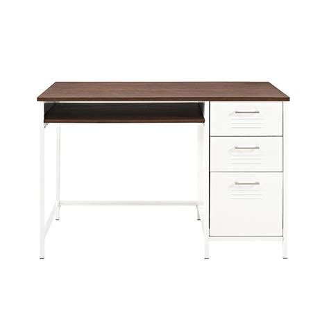 white desk with wood top walker edison furniture company locker style 48 in white