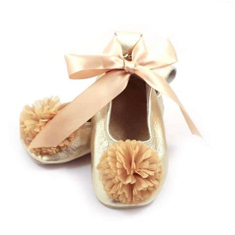 gold flower shoes gold ballet flats flower shoes baby wedding shoes