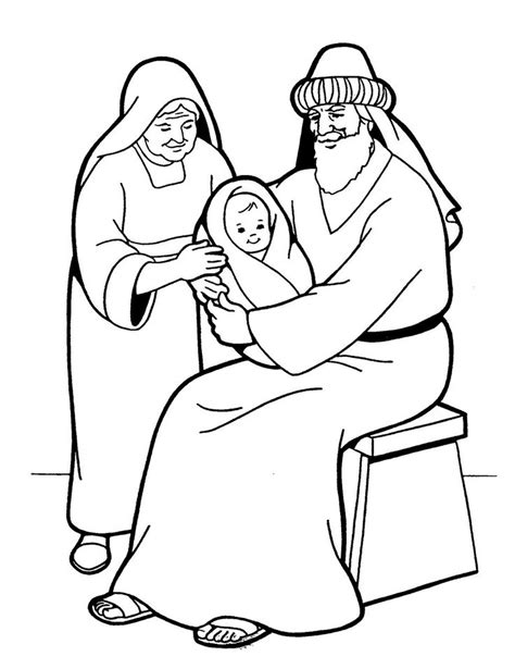 coloring pages baby jesus in the temple simeon en kerst kleurplaten voor kleuters nativiy