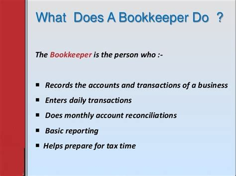 what does it to be a what does a bookkeeper do