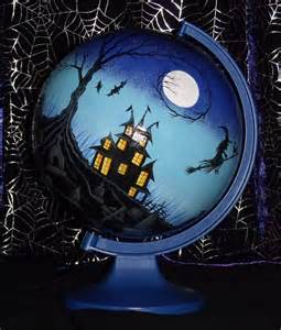 Gothic Rug Hand Painted Spooky Halloween Haunted House And Graveyard
