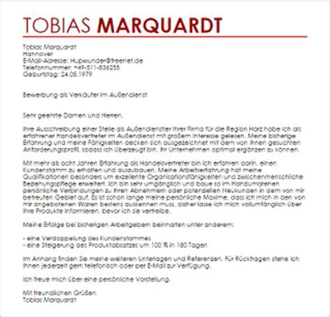 Anschreiben Verkaufer Im Aubendienst Bewerbungsschreiben Verk 228 Ufer Im Au 223 Endienst Au 223 Endienstler Livecareer