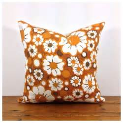 Handmade Fabric Flower - cushion cover 1960s 70s vintage retro flower power by