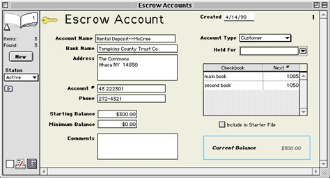 Goldenseal Accounting Software Reference Escrow Accounts