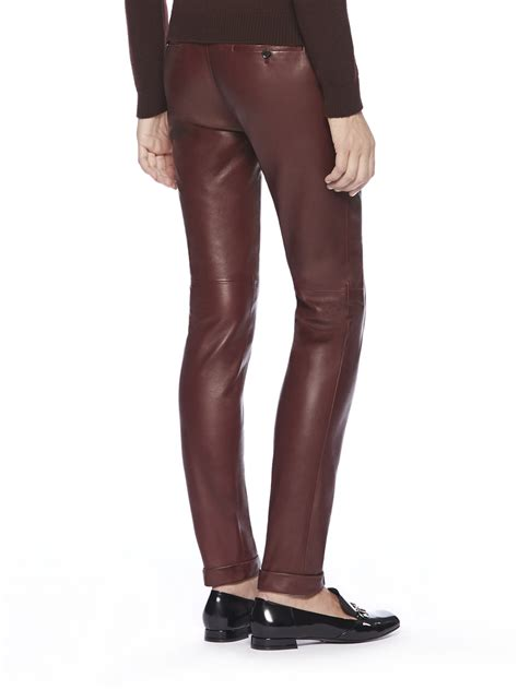 leather pants lyst gucci cuffed leather pants in red