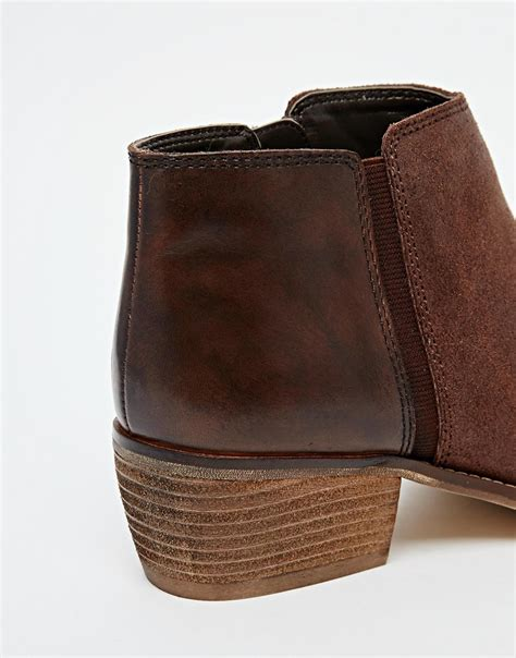 dune penelope brown leather flat ankle boots in brown lyst