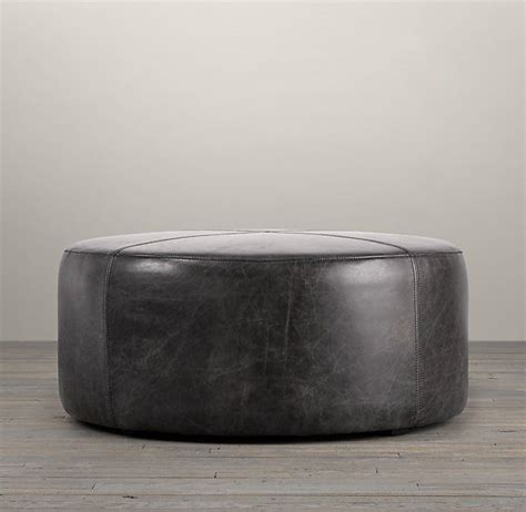 36 round leather ottoman 36 quot cooper leather round ottoman db s house pinterest