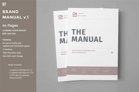 user manual design template brand manual templates on creative market