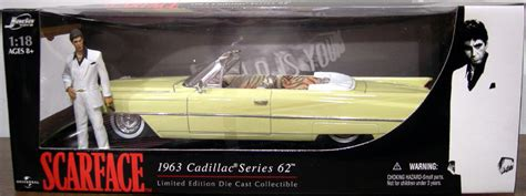 scarface cadillac scarface 1963 cadillac series 62 1 18 scale die cast