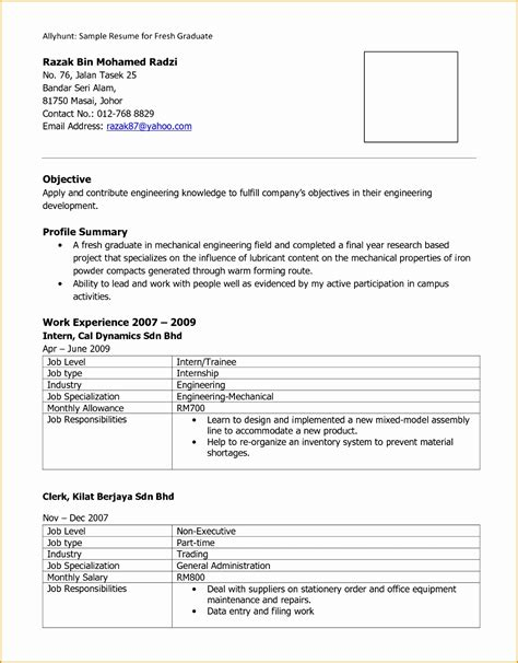 exle of cover letter for fresh graduate accounting 9 exle of resume for fresh graduate free sles