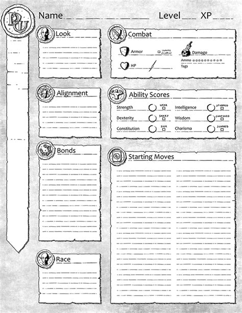 dungeon world character sheet by awfulgoodgames on deviantart