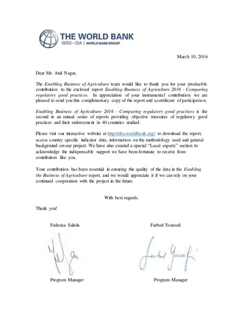 Bank Thank You Letter Letter Of Recognition From World Bank